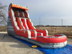 Wet 24 ft Dual Laned Volcano Rush Water Slide with Pool