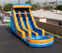 Wet 20 ft Fire and Ice Dual Lane Water Slide with pool