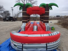 Dual Laned Lava Rush Slip n Slide with Pool