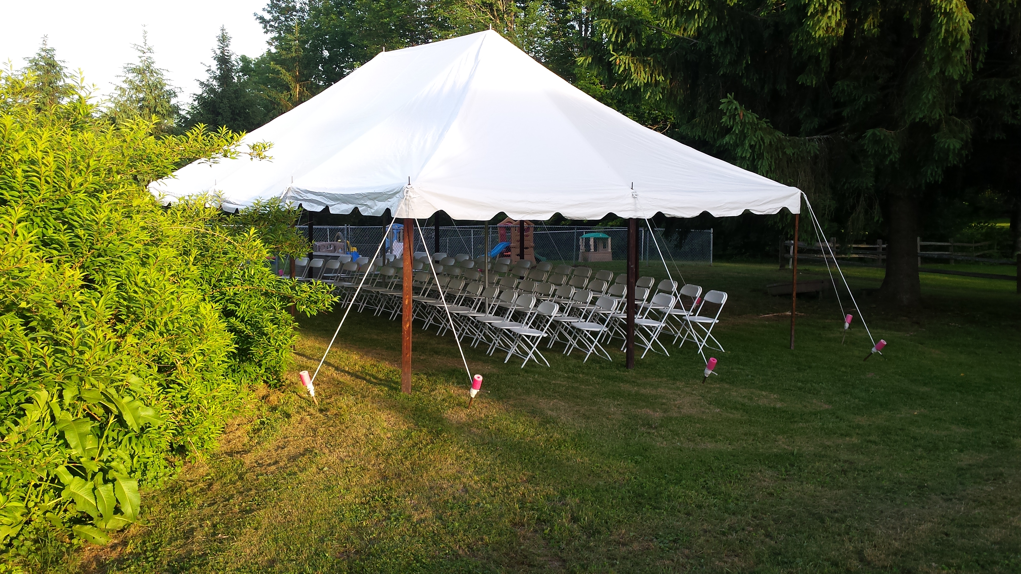 Party tent set-up with chairs