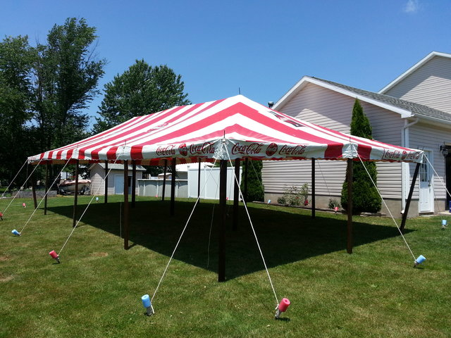 20 x 40 Red & White 'Coca-Cola' Pole Tent
