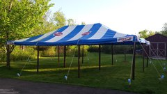 20 x 30 Blue & White 'Coca-Cola' Pole Tent