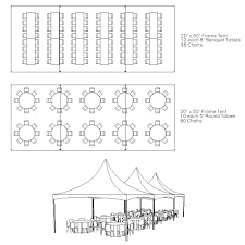 20 x 50 FRAME TENT PACKAGE 80 WHITE CHAIRS, 10 TABLES $825