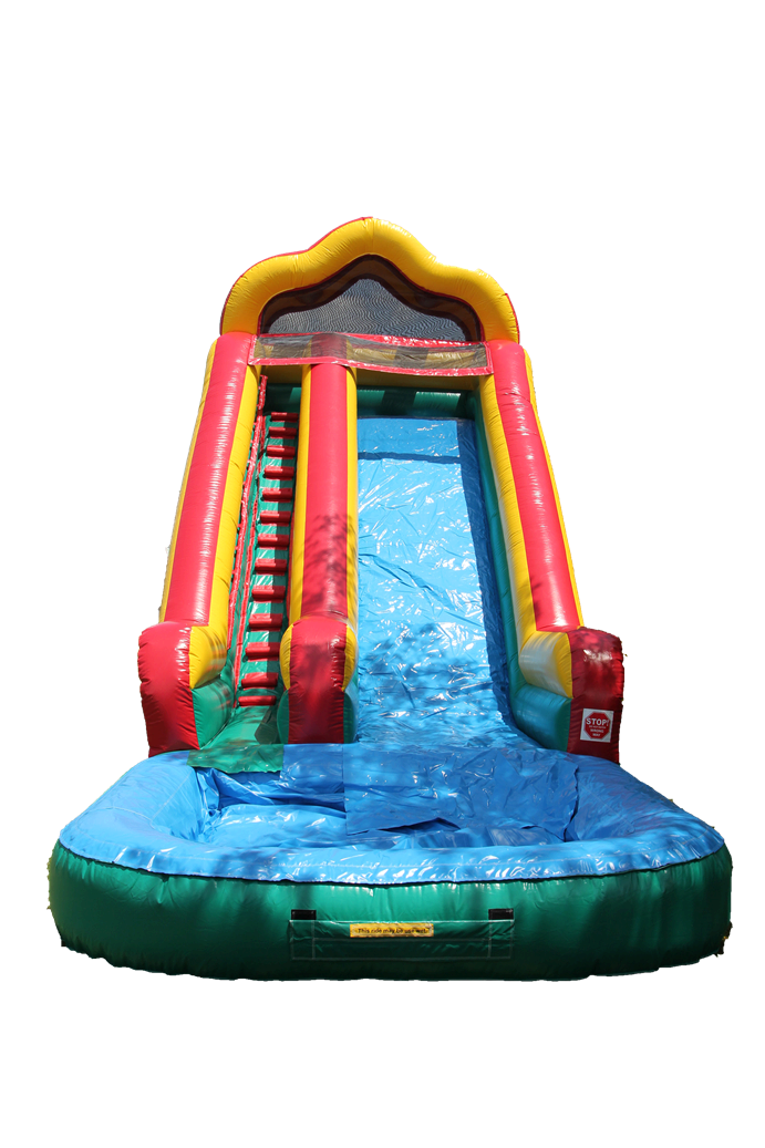 18 ft water slide with pool front view