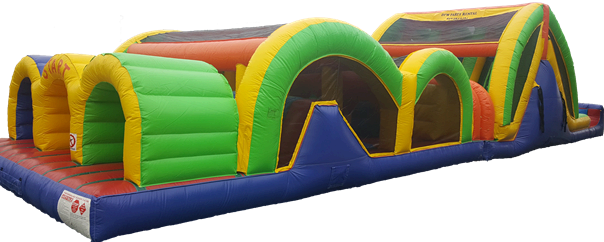 3 Lane Mega Thrill Obstacle Course with Slide Side
