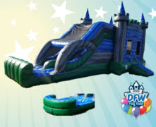 Emerald Castle Dual Lane Water Slide with Choice of Pool or Bumper