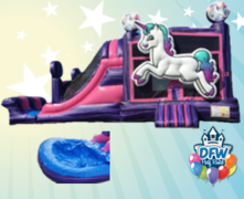 Purple Unicorn Dual Lane Water Slide with Choice of Pool or Bumper