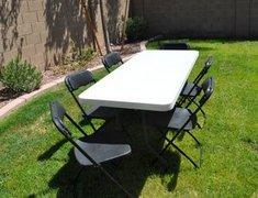 Table & Chairs Set (call if not renting w/inflatable) - Black