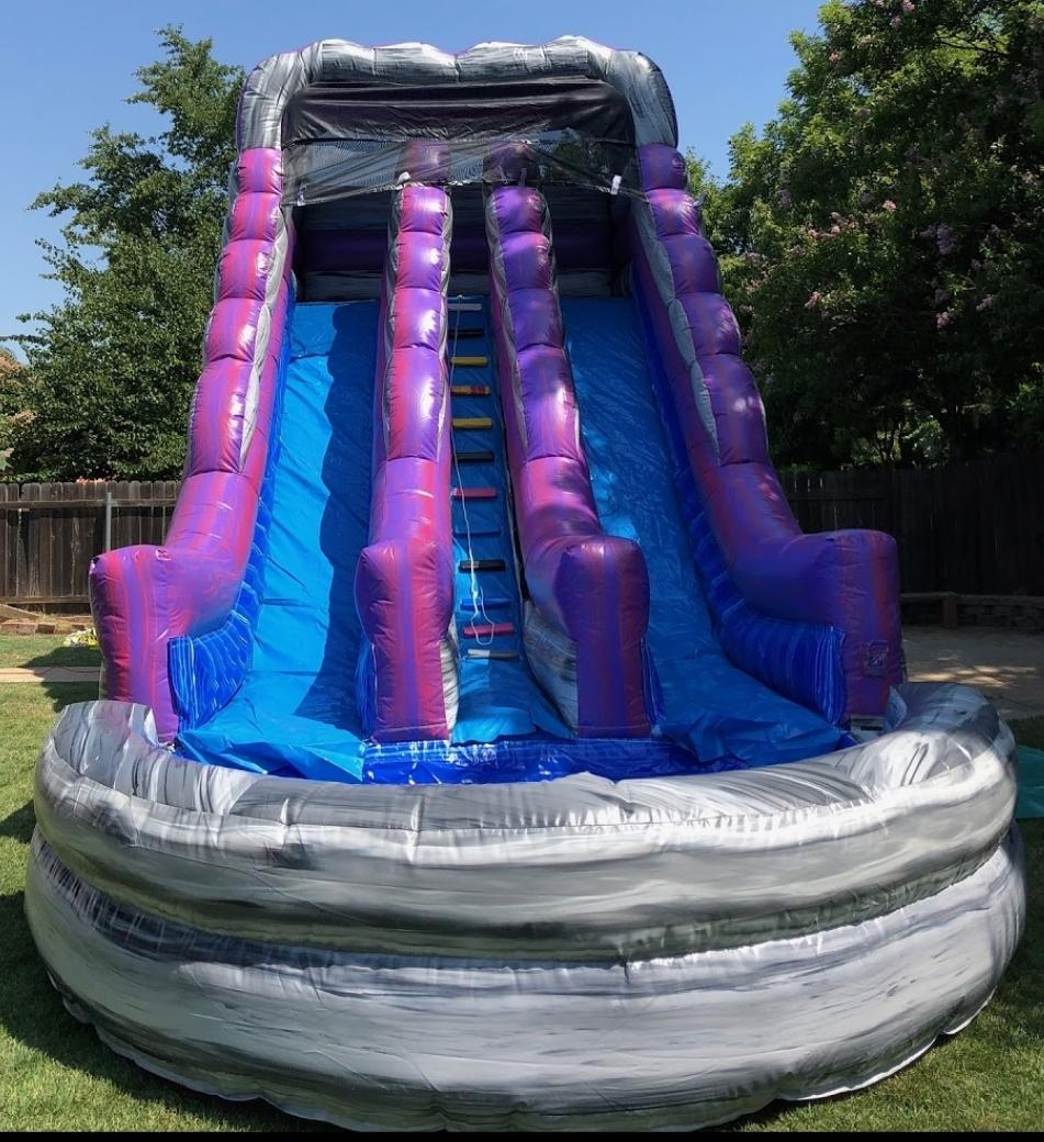 Huge Purple Dual Lane Water Slide EJFunday