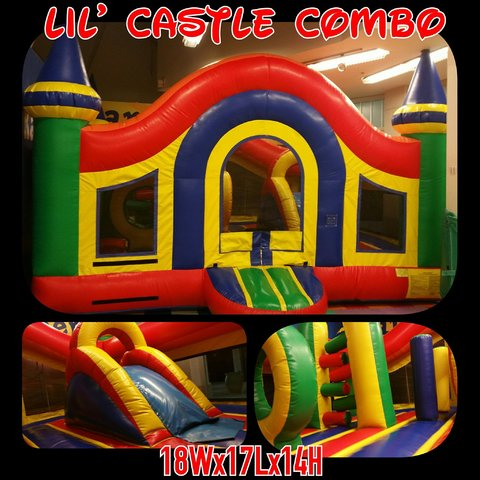 Combo 18x17 Toddler Lil Castle Bounce House w/Slide and Obstacles