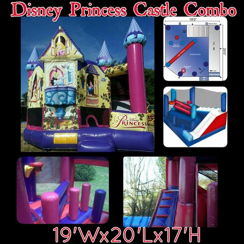 4th of July Wet Slide Disney Princess Castle Combo