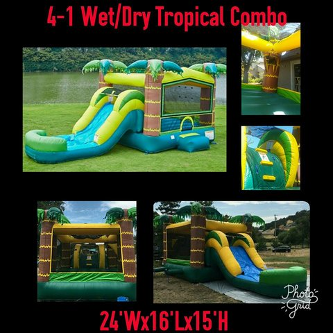 Wet Combo Tropical Athletic Combo with Basketball hoop