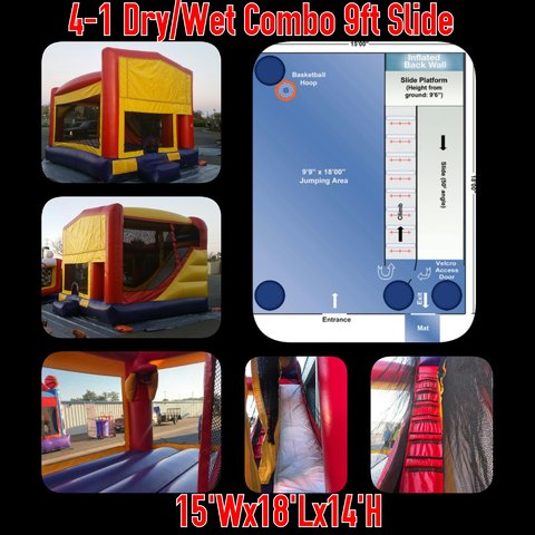 Combo 15x18 Bounce House w/9ft Slide and Hoop
