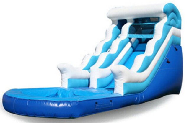 4th of July Big Wave Wet/Dry Single Lane Water Slide w/Splash Pool