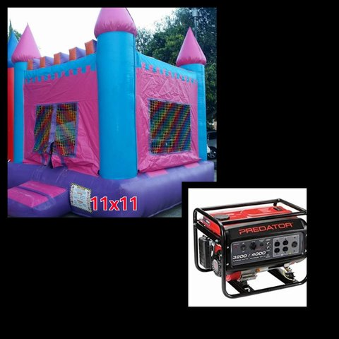 #8 11x11 Pink and Blue Jumper in a Park w/Generator 3500+watts