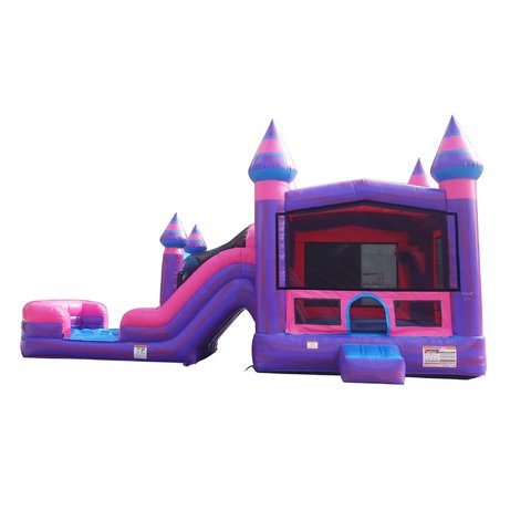Combo 16x31 Pink Marble Bounce House w/Dual Lane Slide and Hoop
