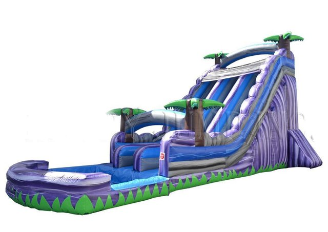 4th of July Purple Tropics Dual Lane Water Slide 22