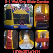 Bounce House with Slide, Obstacles, Tunnel, and Basketball Hoop 15x20