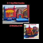 Rainbow Bounce House with Front Facing Slide 21x20