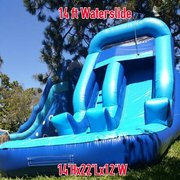 4th of July 14ft Blue Single Lane Water Slide with Splash pool