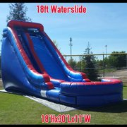 4th of July 18ft Big Drop Wet/Dry Single Lane Water Slide with 14ft High Platform and Splash Pool
