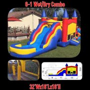 Rainbow Bounce House Jumper with Slide, Obstacles, and Basketball Hoop 16x32 (Add a Theme)