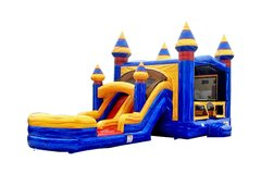 Blue Marble Bounce House Dual Lane Slide with Basketball Hoop in Blue and Yellow 16x31 (Add a Theme)