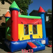 13x13 Multi Color Castle w/Basketball Hoop inside, Green, Red, Blue, and Yellow holds small banners