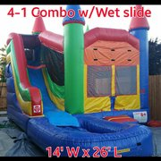 Wet Multi Color Combo Bounce House with 9ft High slide and Basketball hoop | Area needed 30'Lx16'Wx14'H