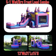 4th of July 5-1 Wet Cotton Candy Combo Bounce House with Basketball hoop and Tunnel