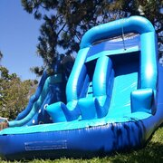 Blue Single Lane Water Slide with Splash pool | Area Needed 15'Wx26'Lx15'H