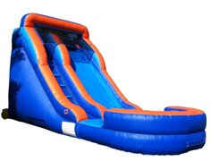 Orange and Blue Single Lane Water Slide with Splash pool | Area Needed 12'Wx26'Lx15'H