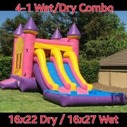 Wet Pink Dual Lane Combo with Hoop in Pink Purple and Yellow | Area needed 29'Wx20'Lx14'H
