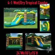 Aloha Tropical Bounce House with Slide and Basketball Hoop 16x26 (Add a Theme)