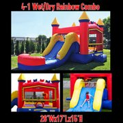 Rainbow Bricks Bounce House with Slide and Basketball Hoop 16x26 (Add a Theme)