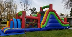 40ft Rainbow Obstacle Course 15ft High Slide | Area needed 16'Wx46'Lx17'H