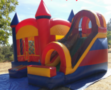 Rainbow Bounce House with Front Facing Slide 21x20 | Area needed 23'Wx24'Lx15'H