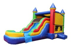 Multi Color Bounce House with Slide and Basketball Hoop 16x25 (Add a Theme)