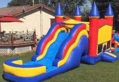 Rainbow Bounce House Jumper with Slide, Obstacles, and Basketball Hoop 16x32 (Add a Theme) Dry Use