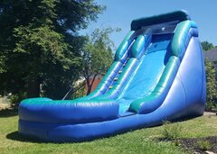 Green and Blue Water Slide with 12ft High Platform and Splash Pool | Area Needed 17'Wx30'Lx17'H