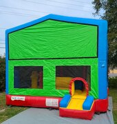 Modular Rainbow Bounce House with Inside Slide and Obstacles (Add a theme)| Area needed 17'Wx24'Lx16'H