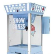 Small Snow Cone Machine perfect for 10-20 guests.  Includes 1 bottle of syrup and 50 serving cones