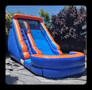 4th of July 14ft Orange and Blue Single Lane Water Slide with Splash pool