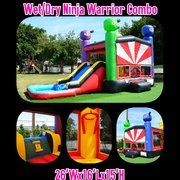 Little Ninja Bounce House with Slide and Basketball Hoop 16x26 (Add a Theme)