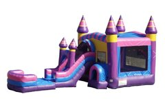 Pink Candy Theme Bounce House with Front Facing Slide and Basketball Hoop and Tunnel | Area needed 15'Wx35'Lx16'H
