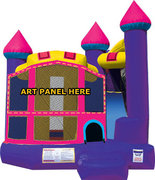 Pink Dream Castle Bounce House with Slide and Basketball Hoop  15x18