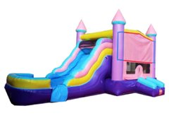 Pink Sparkling Bounce House with Slide and Basketball Hoop 16x25 (Add a Theme)