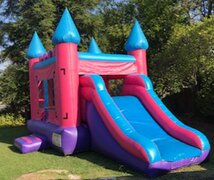 Pink Mini Bounce House Combo 16x21 | Area needed 24'Wx20'Lx14'H