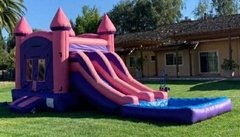 Purple Bounce House Dual Lane with Basketball Hoop 16x22