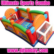 Ultimate Jumpy Bounce House Sports Arena Soccer Goals, Basketball Hoops, Volley Net, Joust